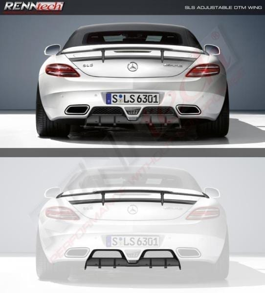 Mercedes SLS AMG - RENNtech Carbon Fibre Adjustable Wing w/ Lip Spoiler